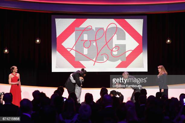 Katharina Harf Luis Miranda Ezra Miller and Cynthia Lowry onstage at 11th Annual DKMS 'BIG LOVE' Gala on April 27 2017 in New York City