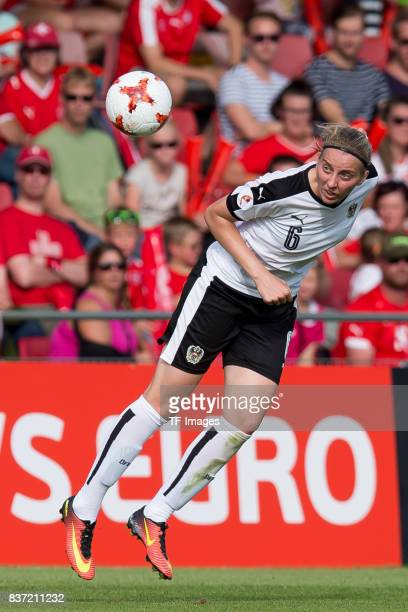 Katharina Schiechtl of Austria controls the ball during the Group C match between Austria and Switzerland during the UEFA Women's Euro 2017 at...