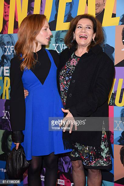 Katharina Schuettler and Hannelore Elsner attend the Berlin premiere of the film 'Die Welt der Wunderlichs' at Kant Kino on October 12 2016 in Berlin...