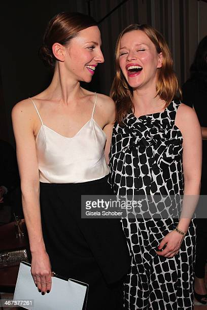 Katharina Schuettler and Karoline Schuch attend the Berlin Opening Night Of Gala Ufa Fiction during the 64th Berlinale International Film Festival at...