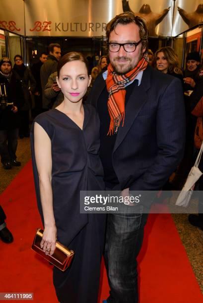 Katharina Schuettler and Till Franzen arrive at the red carpet of the BZ Kulturpreis at Theater am Kurfuerstendamm on January 20 2014 in Berlin...
