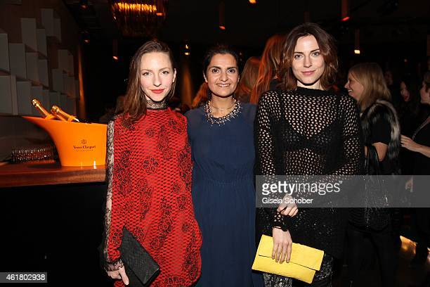 Katharina Schuettler designer Leyla Piedayesh and Antje Traue attend the LaLa Berlin Dinner with Cinderella during the MercedesBenz Fashion Week...