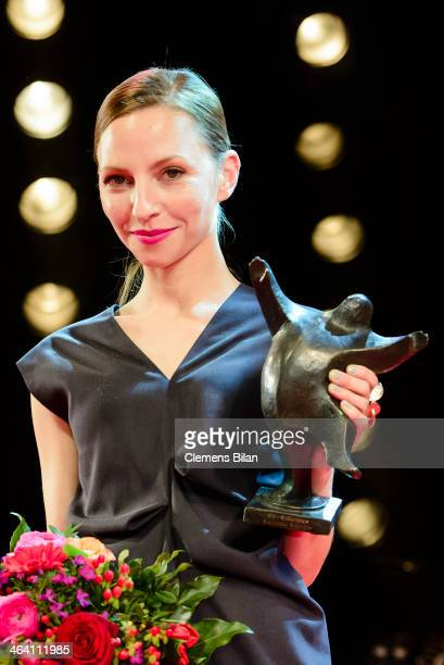 Katharina Schuettler poses with her award after the BZ Kulturpreis at Theater am Kurfuerstendamm on January 20 2014 in Berlin Germany