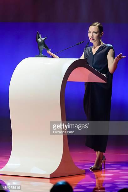 Katharina Schuettler receives her award at the BZ Kulturpreis at Theater am Kurfuerstendamm on January 20 2014 in Berlin Germany