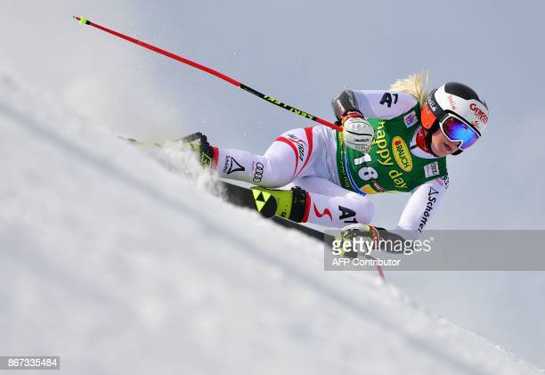 Katharina Truppe of Austria competes during the women's Giant Slalom event of the FIS ski World cup in Soelden Austria on October 28 2017 / AFP PHOTO...