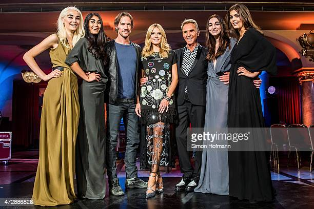 Katharina Wandrowsky Anuthida Ploypetch Thomas Hayo Heidi Klum Wolfgang Joop Ajsa Selimovic and Vanessa Fuchs pose during a photo call for the tv...