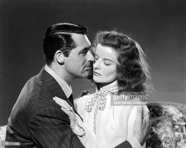 Katharine Hepburn and Cary Grant in a promotional portrait for 'Bringing Up Baby' directed by Howard Hawks 1938