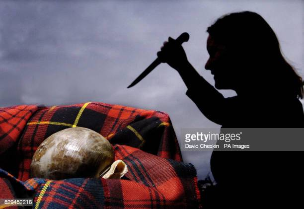 Katharine Macsween begins cutting up a haggis as she gets ready for the first ladies Burns night dinner to be held on the 28th January