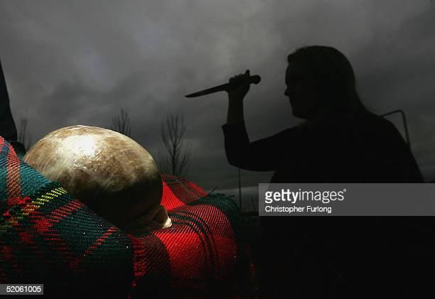 Katharine Macsween of world famous Macsween's Haggis prepares for the ritual of eating the Haggis January 25 Edinburgh Scotland The Haggis was made...