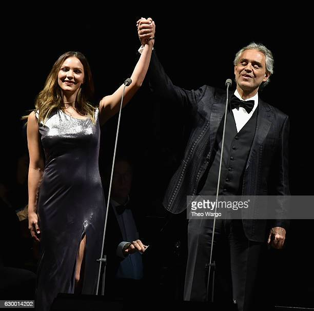 Katharine McPhee and Andrea Bocelli perform at Madison Square Garden on December 15 2016 in New York City