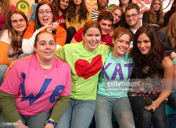 Katharine McPhee and Fans during John Travolta Visits and Katharine McPhee Guest Hosts MTV's 'TRL' February 22 2007 at MTV Studios Times Square in...