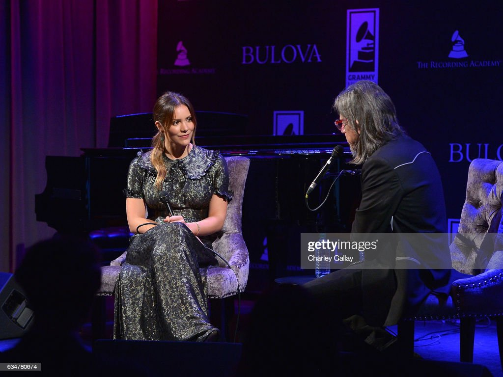 Katharine McPhee and GRAMMY Foundation Vice President Scott Goldman participate in a Q&A at the Bulova x GRAMMY Brunch in the Clive Davis Theater at The GRAMMY Museum on February 11, 2017 in Los Angeles, California.