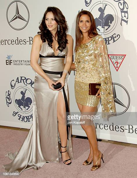 Katharine McPhee and Halle Berry during MercedesBenz Presents the 17th Carousel of Hope Ball Arrivals at Beverly Hilton Hotel in Beverly Hills...