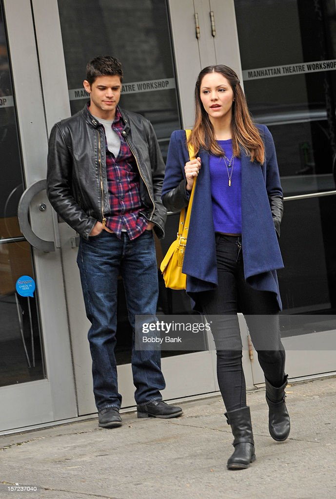 <a gi-track='captionPersonalityLinkClicked' href=/galleries/search?phrase=Katharine+McPhee&family=editorial&specificpeople=581492 ng-click='$event.stopPropagation()'>Katharine McPhee</a> (R) and Jeremy Jordan on location for tv series 'Smash' on November 30, 2012 in New York City.