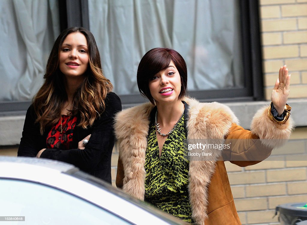 <a gi-track='captionPersonalityLinkClicked' href=/galleries/search?phrase=Katharine+McPhee&family=editorial&specificpeople=581492 ng-click='$event.stopPropagation()'>Katharine McPhee</a> and Krysta Rodriguez filming on location for 'Smash' on October 9, 2012 in New York City.