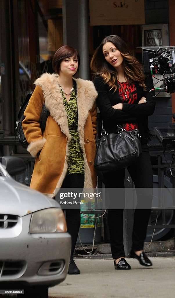 <a gi-track='captionPersonalityLinkClicked' href=/galleries/search?phrase=Katharine+McPhee&family=editorial&specificpeople=581492 ng-click='$event.stopPropagation()'>Katharine McPhee</a> (R) and Krysta Rodriguez filming on location for 'Smash' on October 9, 2012 in New York City.