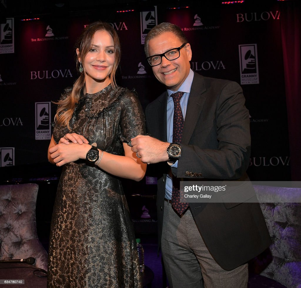 Katharine McPhee and Managing Director Bulova U.S. Michael Benavente attends the Bulova x GRAMMY Brunch in the Clive Davis Theater at The GRAMMY Museum on February 11, 2017 in Los Angeles, California.