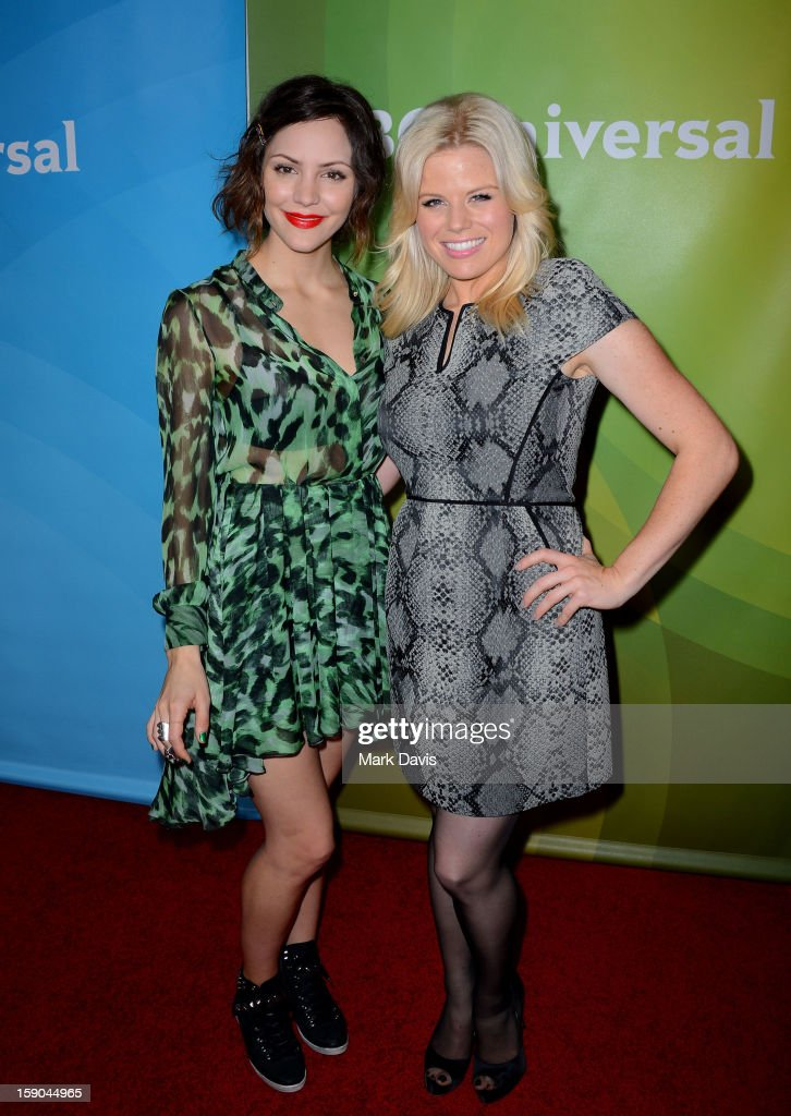 Katharine McPhee and Megan Hilty pose at the 2013 TCA Winter Press Tour NBC Universal Day 1 at The Langham Huntington Hotel and Spa on January 6, 2013 in Pasadena, California.
