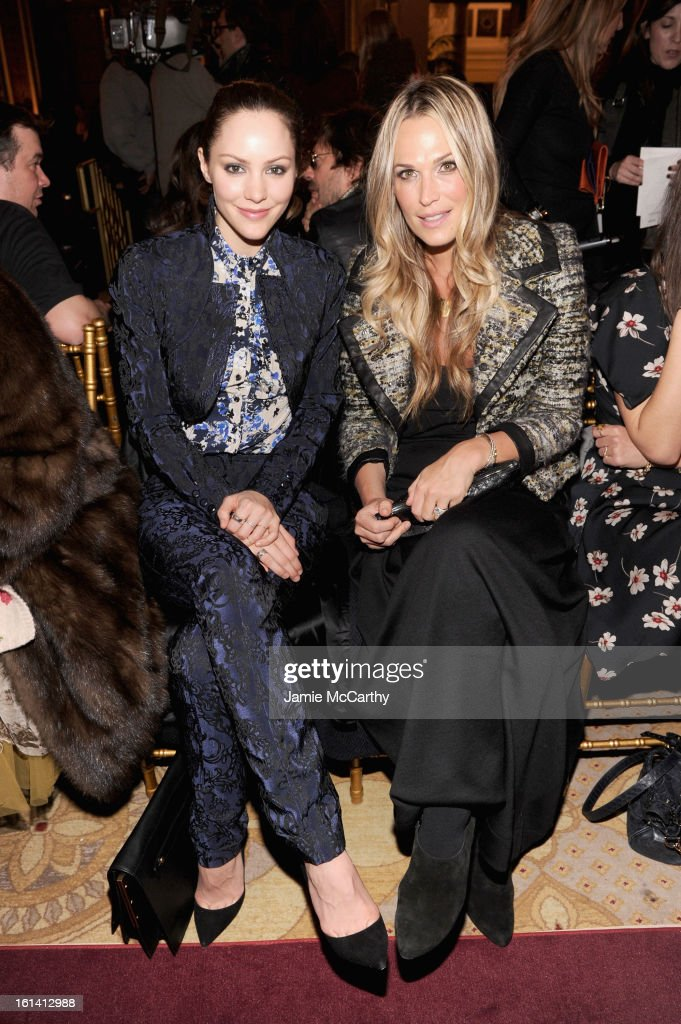 <a gi-track='captionPersonalityLinkClicked' href=/galleries/search?phrase=Katharine+McPhee&family=editorial&specificpeople=581492 ng-click='$event.stopPropagation()'>Katharine McPhee</a> and <a gi-track='captionPersonalityLinkClicked' href=/galleries/search?phrase=Molly+Sims&family=editorial&specificpeople=202547 ng-click='$event.stopPropagation()'>Molly Sims</a> attend the Zac Posen Fall 2013 fashion show during Mercedes-Benz Fashion Week on February 10, 2013 in New York City.