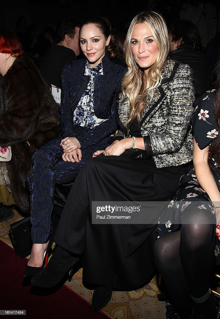 <a gi-track='captionPersonalityLinkClicked' href=/galleries/search?phrase=Katharine+McPhee&family=editorial&specificpeople=581492 ng-click='$event.stopPropagation()'>Katharine McPhee</a> and <a gi-track='captionPersonalityLinkClicked' href=/galleries/search?phrase=Molly+Sims&family=editorial&specificpeople=202547 ng-click='$event.stopPropagation()'>Molly Sims</a> attend Zac Posen during Fall 2013 Mercedes-Benz Fashion Week on February 10, 2013 in New York City.