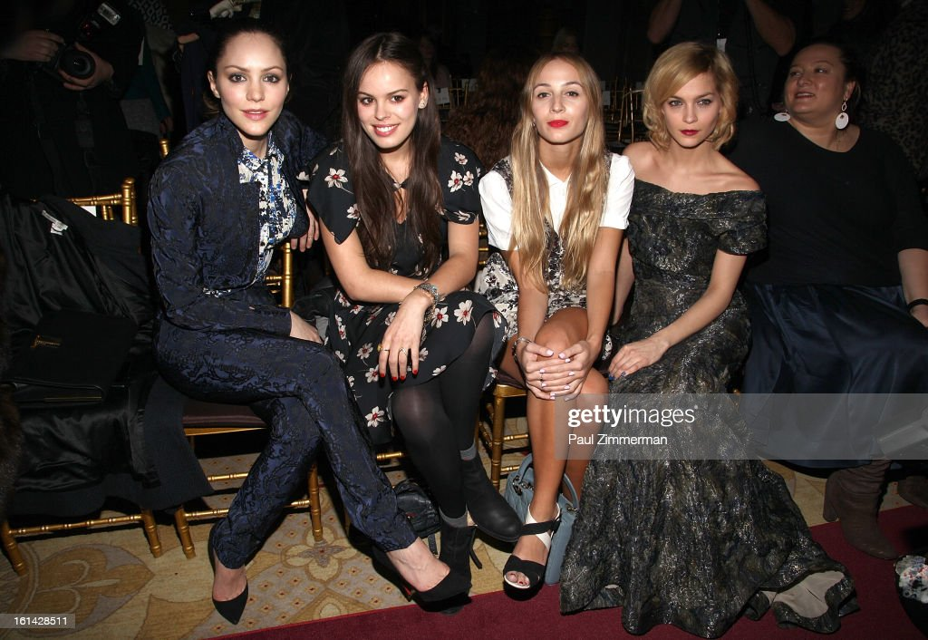 <a gi-track='captionPersonalityLinkClicked' href=/galleries/search?phrase=Katharine+McPhee&family=editorial&specificpeople=581492 ng-click='$event.stopPropagation()'>Katharine McPhee</a>, Atlanta De Cadenet, Harley Viera Newton and <a gi-track='captionPersonalityLinkClicked' href=/galleries/search?phrase=Leigh+Lezark&family=editorial&specificpeople=618872 ng-click='$event.stopPropagation()'>Leigh Lezark</a> attend Zac Posen during Fall 2013 Mercedes-Benz Fashion Week on February 10, 2013 in New York City.