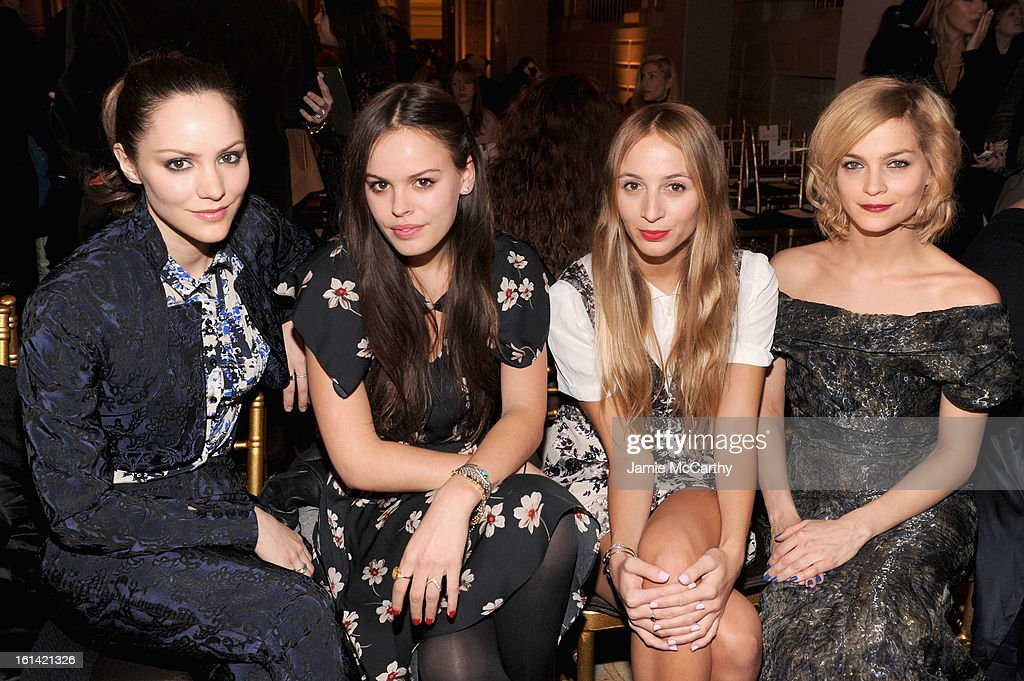 <a gi-track='captionPersonalityLinkClicked' href=/galleries/search?phrase=Katharine+McPhee&family=editorial&specificpeople=581492 ng-click='$event.stopPropagation()'>Katharine McPhee</a>, Atlanta De Cadenet, Harley Viera-Newton and <a gi-track='captionPersonalityLinkClicked' href=/galleries/search?phrase=Leigh+Lezark&family=editorial&specificpeople=618872 ng-click='$event.stopPropagation()'>Leigh Lezark</a> attend the Zac Posen Fall 2013 fashion show during Mercedes-Benz Fashion Week on February 10, 2013 in New York City.