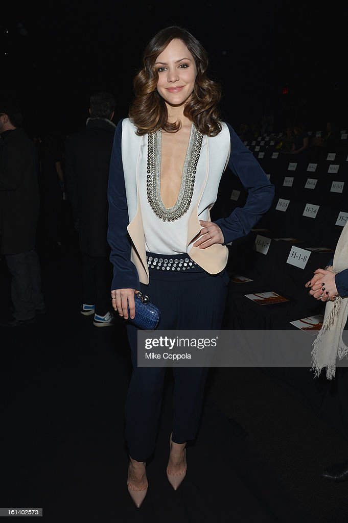 Katharine McPhee attends the Diane Von Furstenberg Fall 2013 fashion show during Mercedes-Benz Fashion at The Theatre at Lincoln Center on February 10, 2013 in New York City.