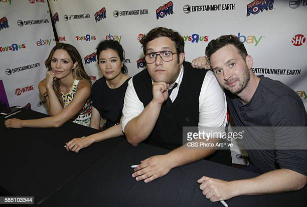 Katharine McPhee Jadyn Wong Ari Stidham and Eddie Kaye Thomas of the CBS series SCORPION meet with fans during a signing at COMICCON 2016 in San...