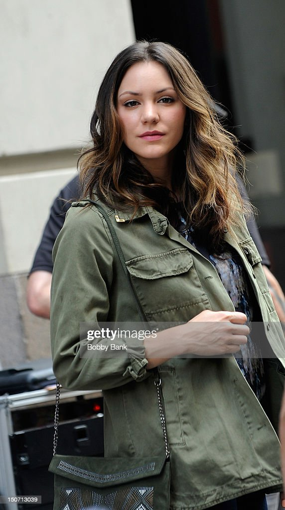 Katharine McPhee on the set of 'Smash' on the streets of Manhattan on August 24 2012 in New York City