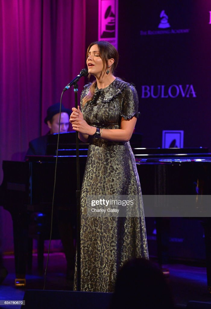 Katharine McPhee performs at the Bulova x GRAMMY Brunch in the Clive Davis Theater at The GRAMMY Museum on February 11, 2017 in Los Angeles, California.