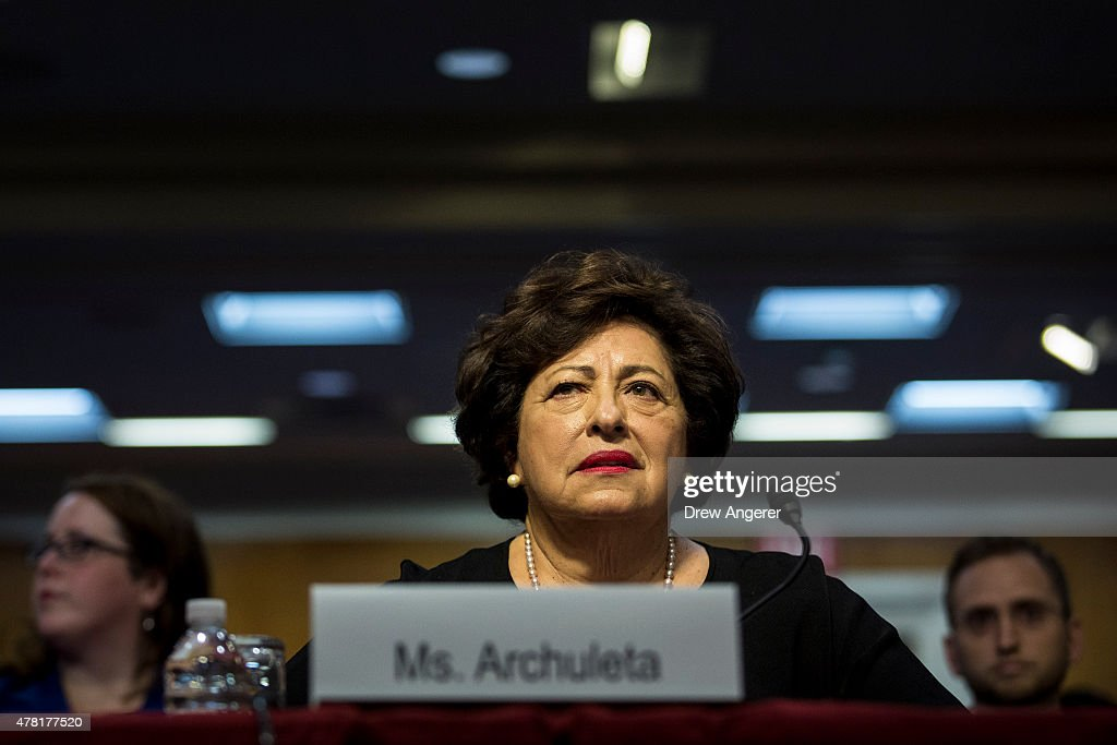 <a gi-track='captionPersonalityLinkClicked' href=/galleries/search?phrase=Katherine+Archuleta&family=editorial&specificpeople=7925722 ng-click='$event.stopPropagation()'>Katherine Archuleta</a>, director of Office of Personnel Management, testifies during a Senate Appropriations Financial Services and General Government Subcommittee hearing to review information technology spending and data security at the U.S. Office of Personnel Management, on Capitol Hill, June 23, 2015 in Washington, DC. FBI Director James Comey recently told Senators in a closed-door meeting that the personal data of an estimated 18 million current and former federal employees were affected by a recent cyber breach at the Office of Personnel Management.