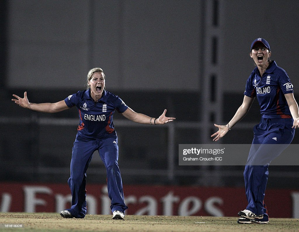 Katherine Brunt and Charlotte Edwards of England appeal for a wicket during the Super Sixes ICC Women's World Cup India 2013 match between New Zealand and England at the Cricket Club of India ground on February 13, 2013 in Mumbai, India.