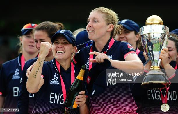 Katherine Brunt and Heather Knight of England celebrate during the ICC Women's World Cup 2017 Final between England and India at Lord's Cricket...