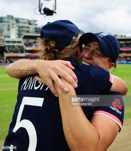 Katherine Brunt and Heather Knight of England embrace during the ICC Women's World Cup 2017 Final between England and India at Lord's Cricket Ground...