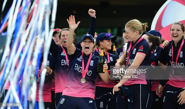 Katherine Brunt Heather Knight and Sarah Taylor of England celebrate during the ICC Women's World Cup 2017 Final between England and India at Lord's...