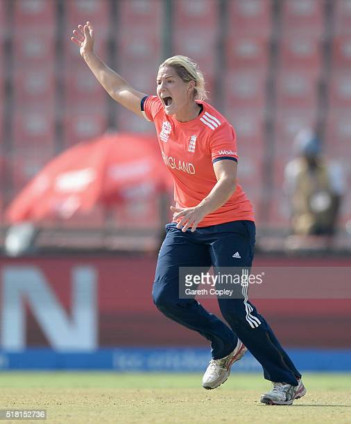 Katherine Brunt of England appeals during the Women's ICC World Twenty20 India 2016 Semi Final between England and Australia at Feroz Shah Kotla...