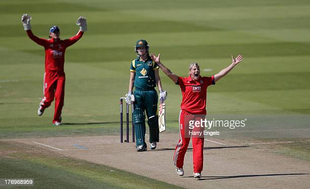 Katherine Brunt of England appeals in vain for the wicket of Meg Lanning of Australia during the first NatWest One Day International match between...