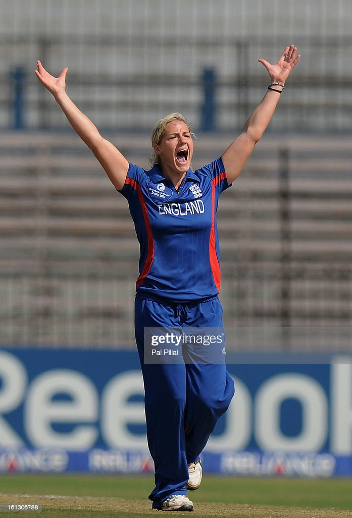 <a gi-track='captionPersonalityLinkClicked' href=/galleries/search?phrase=Katherine+Brunt&family=editorial&specificpeople=637415 ng-click='$event.stopPropagation()'>Katherine Brunt</a> of England appeals succesfully for the wicket of Chloe Tryon during the Super Sixes match between England and South Africa held at the Barabati stadium on February 10, 2013 in Cuttack, India.