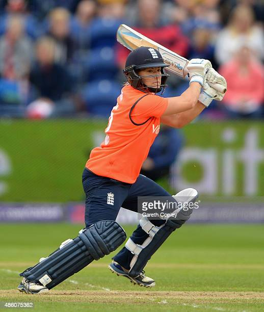 Katherine Brunt of England bats during the 3rd NatWest T20 of the Women's Ashes Series between England and Australia Women at SWALEC Stadium on...