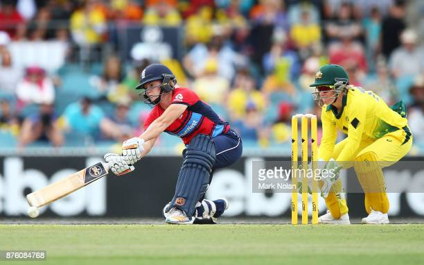 Katherine Brunt of England bats during the second Women's Twenty20 match between Australia and England at Manuka Oval on November 19 2017 in Canberra...