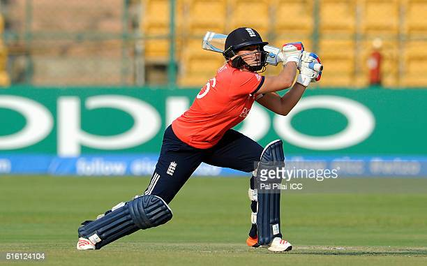 Katherine Brunt of England bats during the Women's ICC World Twenty20 India 2016 match between England and Bangladesh at the Chinnaswamy stadium on...