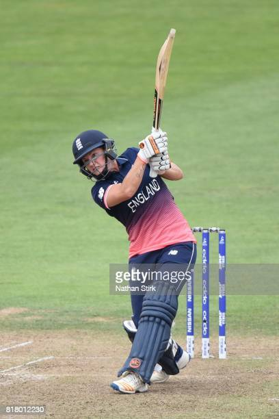 Katherine Brunt of England batting during the SemiFinal ICC Women's World Cup 2017 match between England and South Africa at The Brightside Ground on...