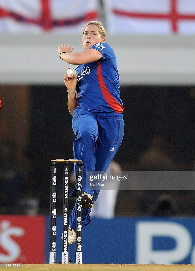 Katherine Brunt of England bowls during the Super Sixes match between England and New Zealand held at the CCI (cricket club of India) on February 13, 2013 in Mumbai, India.