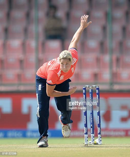 Katherine Brunt of England bowls Women's ICC World Twenty20 India 2016 Semi Final between England and Australia at Feroz Shah Kotla Ground on March...
