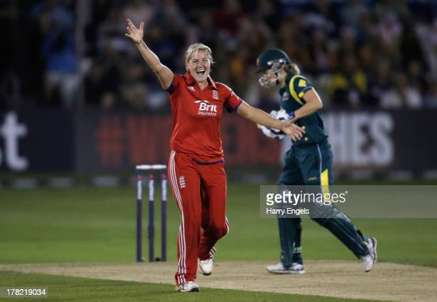 Katherine Brunt of England celebrates dismissing Alyssa Healy of Australia during the first NatWest T20 match between England and Australia at the...
