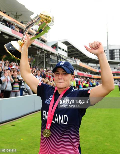 Katherine Brunt of England celebrates during the ICC Women's World Cup 2017 Final between England and India at Lord's Cricket Ground on July 23 2017...