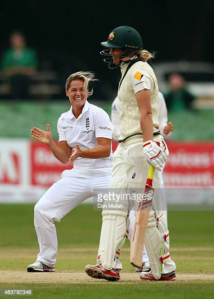 Katherine Brunt of England celebrates taking the wicket of Meg Lanning of Australia during day three of the Kia Women's Test of the Women's Ashes...