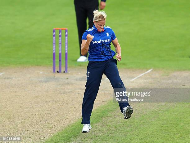 Katherine Brunt of England celebrates taking the wicket of Sidra Nawaz of Pakistan during the second Women's Royal London ODI match between England...