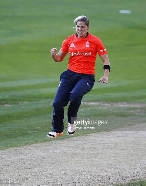 Katherine Brunt of England celebrates taking the wicket of Trisha Chetty of South Africa during the NatWest Women's International T20 match between...