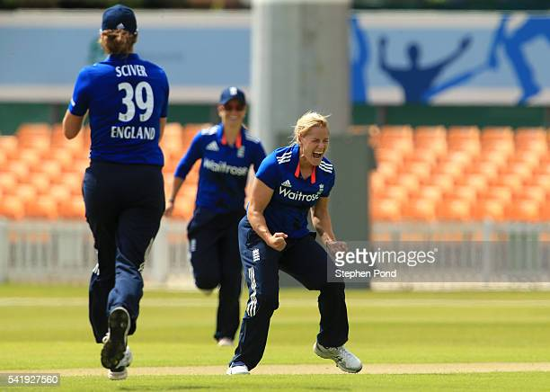 Katherine Brunt of England celebrates the first wicket during the 1st Royal London ODI match between England Women and Pakistan Women at Grace Road...